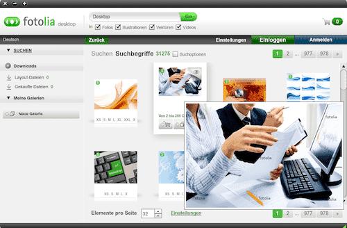 Eigenes Desktop Programm von Fotolia - fotolia desktop software1