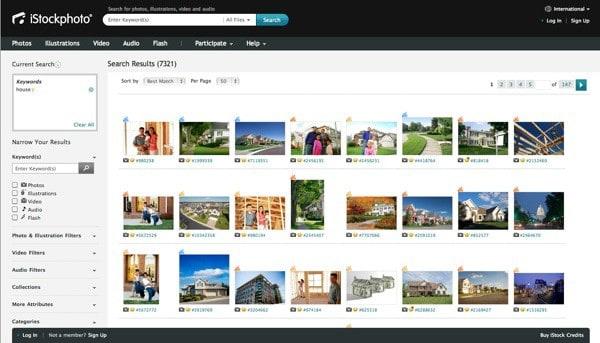 iStockphoto Suche zeigt lokal relevante Suchergebnisse - Test Sectiondeutsches haus istock