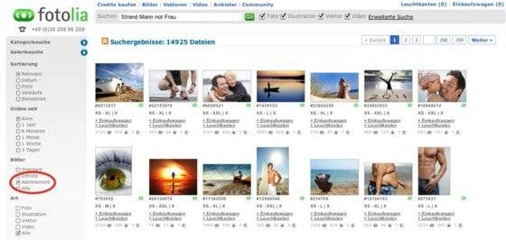 Fotolia mit neuer Suchmaschine - abo bilder fotolia