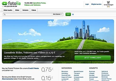 Fotolia's neue Webseite