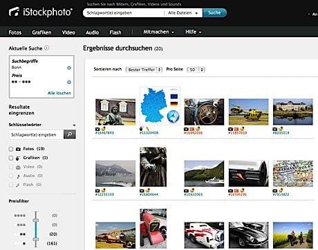 Neuer Preisfilter und Einsteiger-Credit-Paket bei iStockphoto - istockphoto screenshot filter
