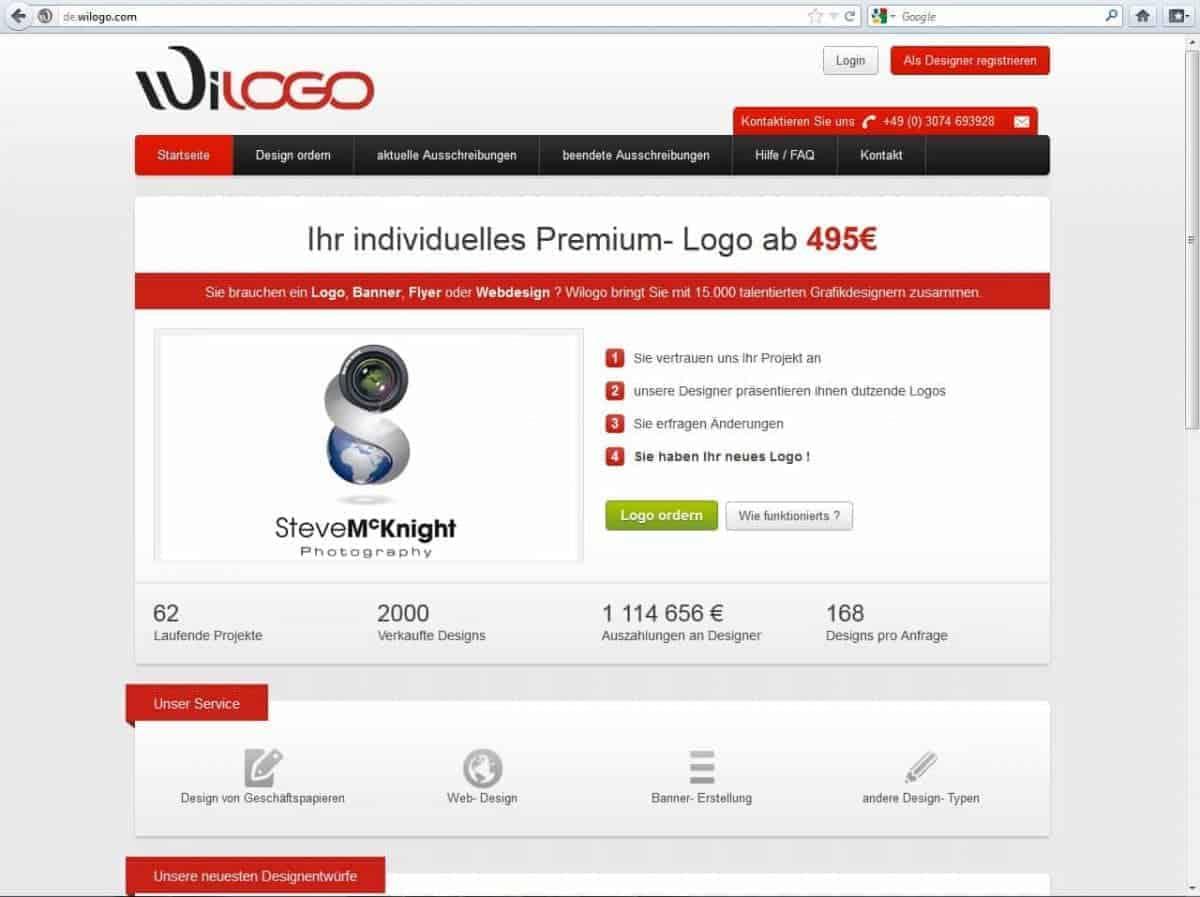 Fotolia erwirbt Design-Community Wilogo - Screenshot Wilogo