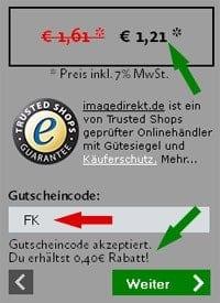 Image Direkt Gutschein Code Screenshot
