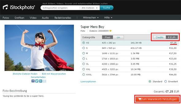 Neue Einzelpreise bei iStockphoto - Bilderkauf ohne Credits ab sofort möglich - istock neue preise screen