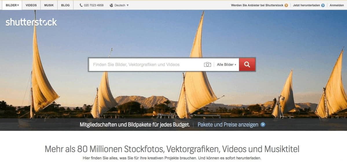 Shutterstock Testbericht, Preise & Erfahrungen - shutterstock page