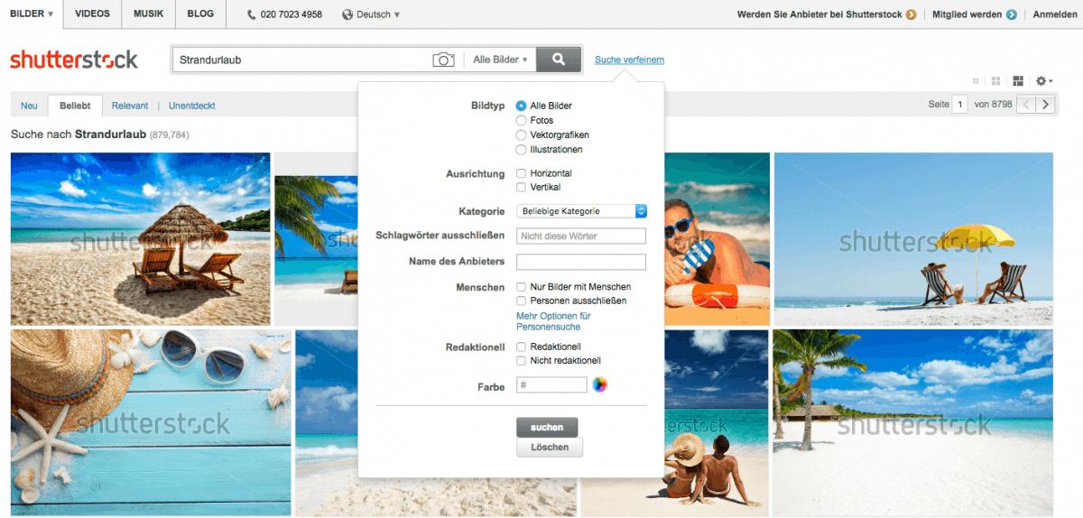 Shutterstock Testbericht, Preise & Erfahrungen - shutterstock suche fein