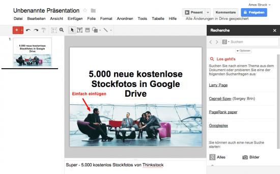 Google Drive - Stockfoto einfügen
