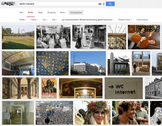 "Suchresultat Google Bilder für ""Berlin Mensch"" (Screenshot Google.de)"