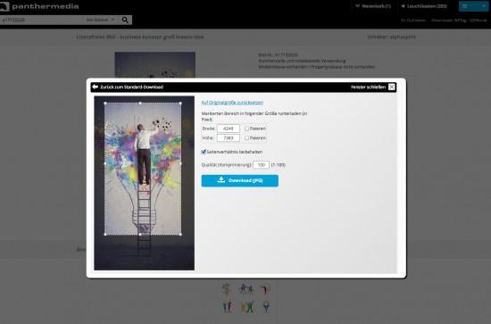 Die Erweiterte Downloadfunktion erlaubt Zuschneiden von Bildern