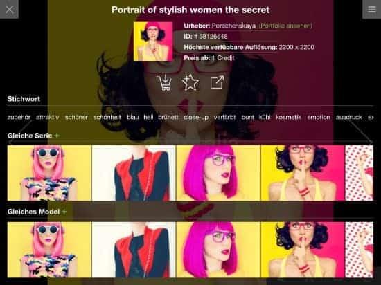 Detailansicht eines Stockfotos in der iPad App von Fotolia