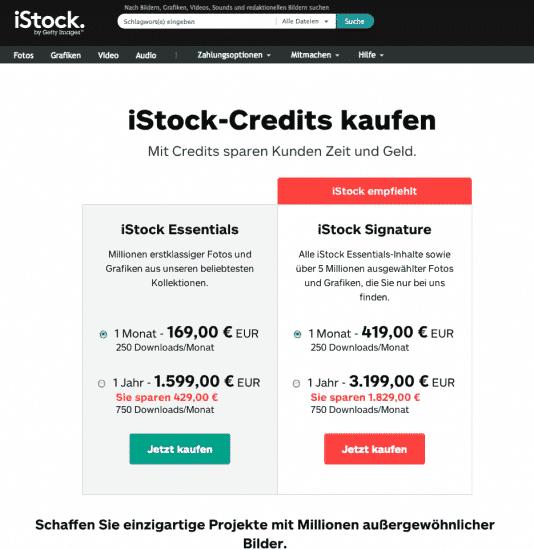 iStock Abo Preise