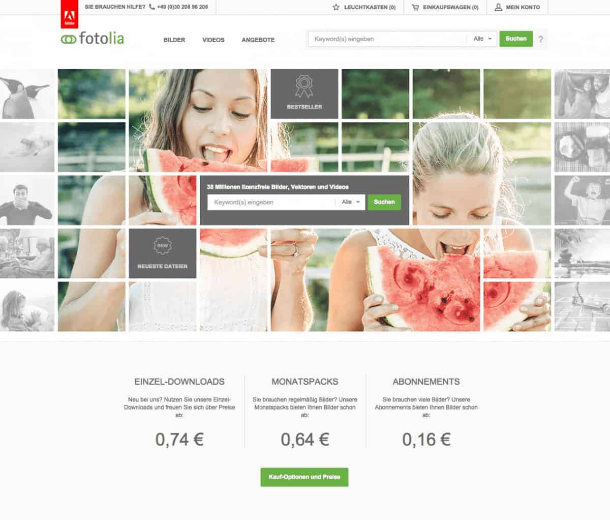Fotolia mit frischem Design - Fotolia Home
