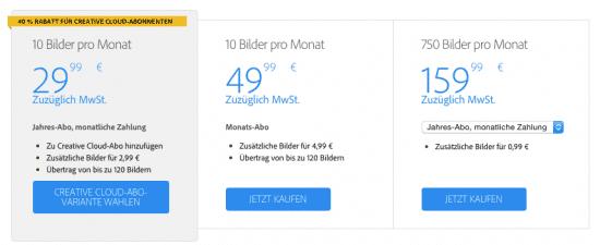 Adobe Stock Preise