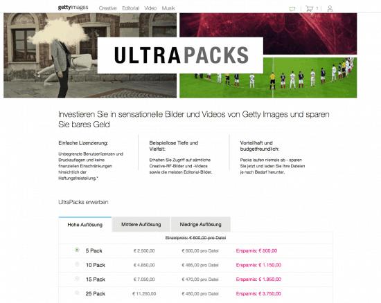 Die fünf besten Bildagenturen, um Premium Bilder zu kaufen! - getty ultrapack