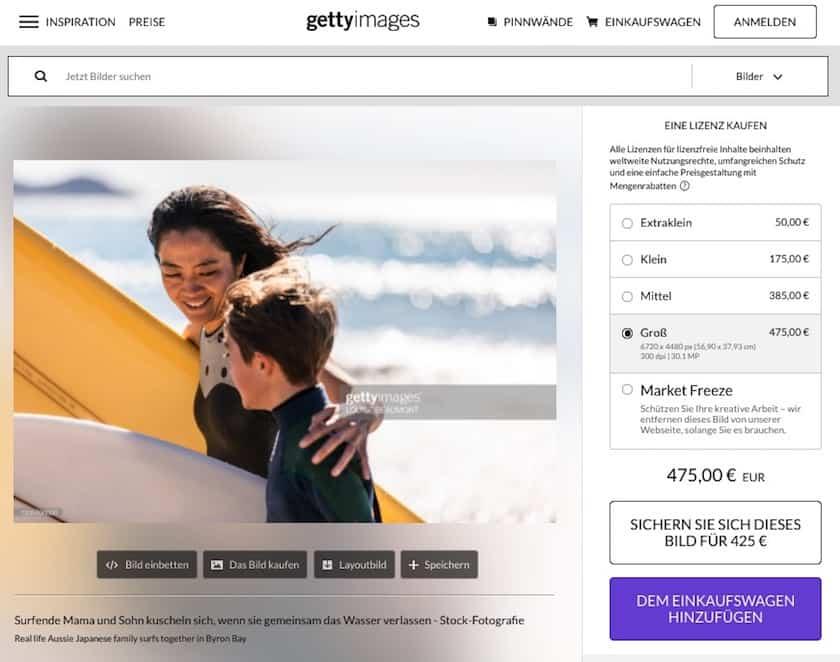 Getty Images Testbericht & Preise - gettyimages bildpreis