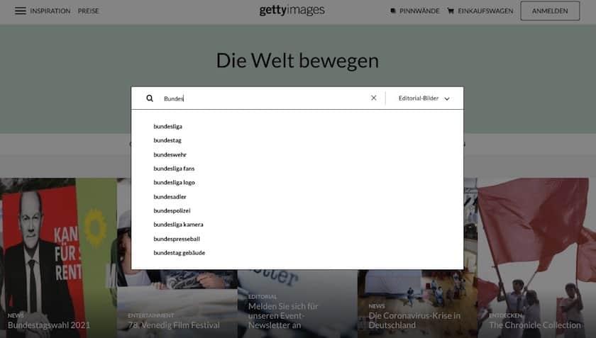 Getty Images Testbericht & Preise - gettyimages bildsuche schlüsselwort