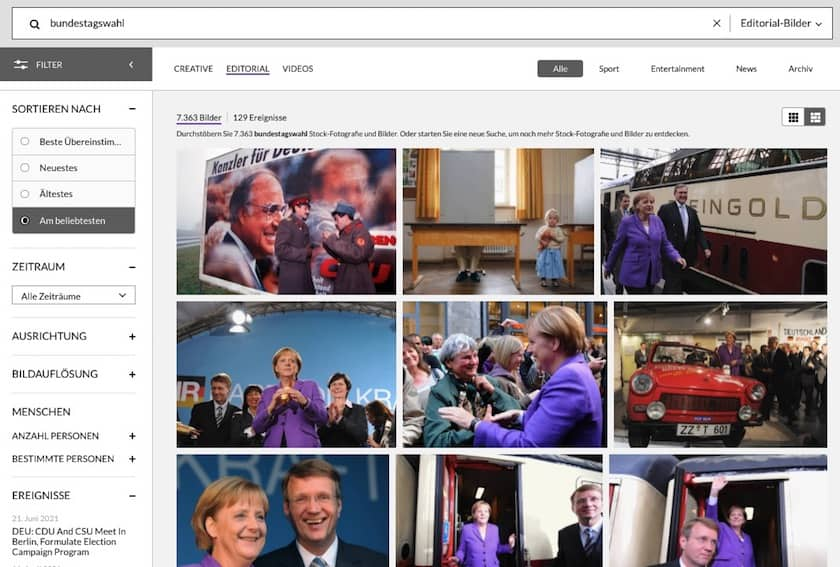 Getty Images Testbericht & Preise - gettyimages suchfilter