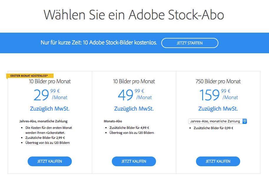 Adobe Stock - adobestock preise bildabo