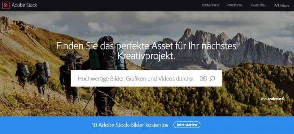 Shutterstock kostenlos - Top Bilder gratis downloaden! - adobe startbild