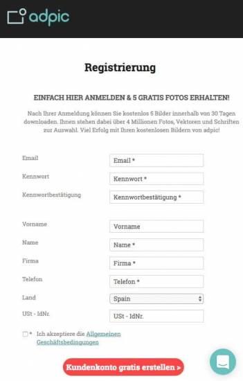 Registrierung bei adpic