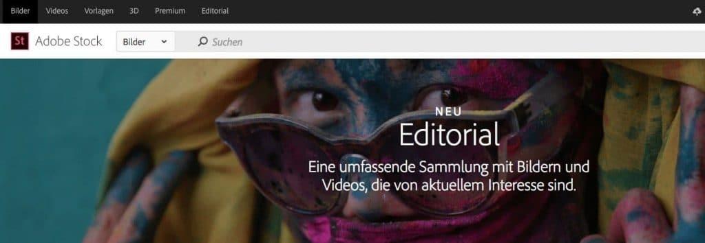 Neu Editorial und Premium Collection von Adobe Stock