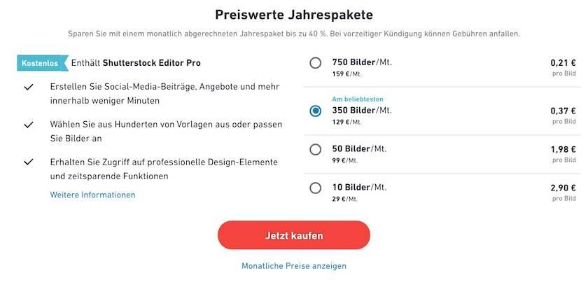 Jahrespaket Shutterstock