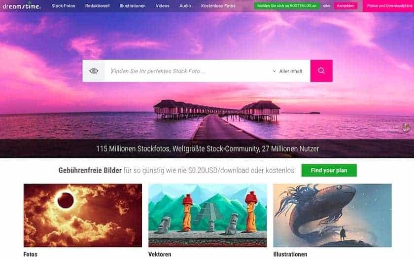 Webseite dreamstime