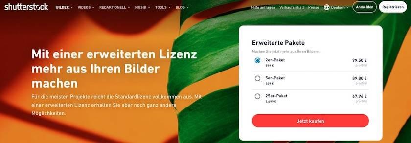 Erweiterte Lizenzen Shutterstock