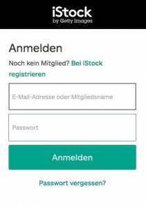 Anmeldung bei iStock