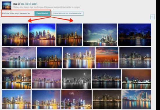 Neue Suchfunktion visuell ähnliche Bilder