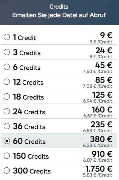 Creditpreise von iStock