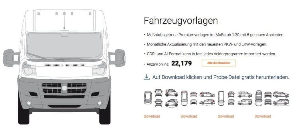 SignSilo Fahrzeugvorlagen