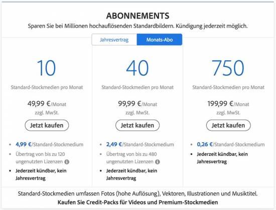 Preise Monats-Abo Adobestock