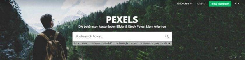 Homepage Pexels