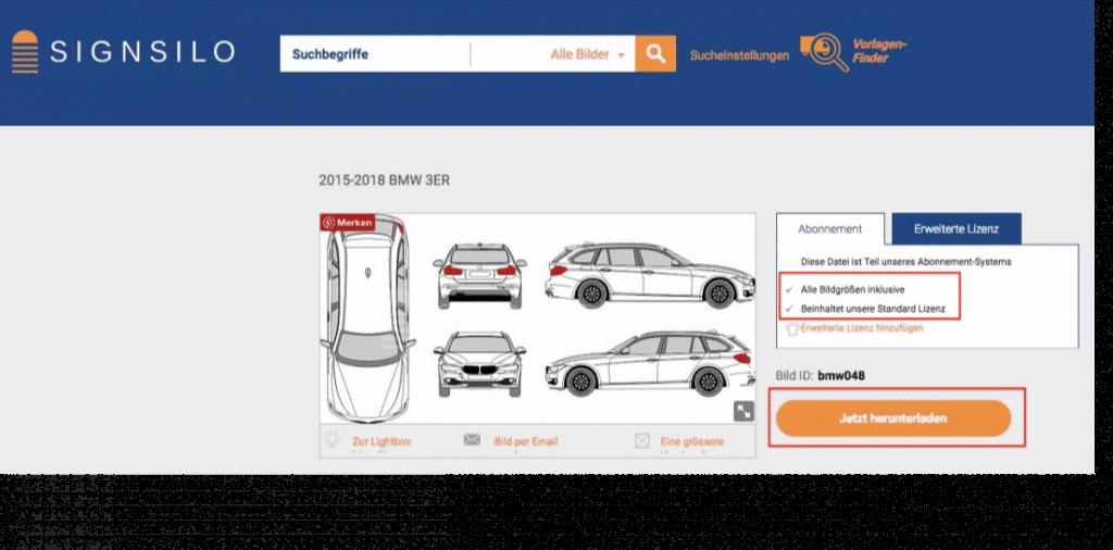 SignSilo - Fahrzeugvorlagen, Grafiken und Fotos für die Beschriftungsbranche - fotoskaufen signsilo fahrzeugvorlage anzeigen