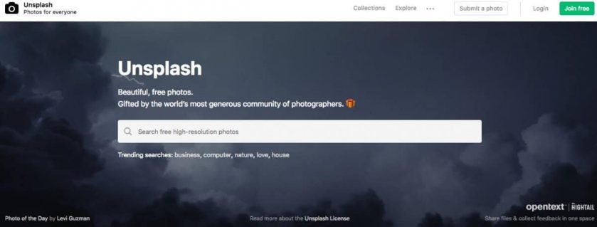 Webseite Unsplash