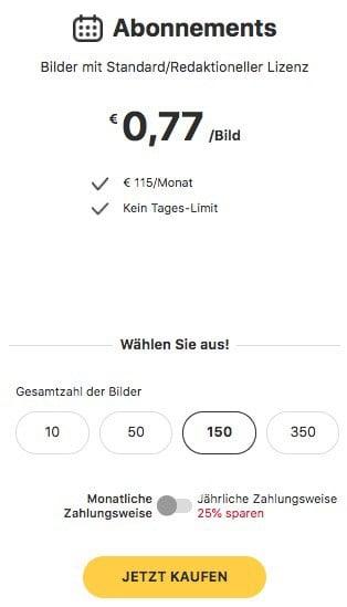 Preise Monats-Abo 123RF