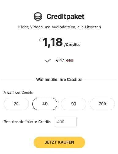 Preise Creditpakete 123rf
