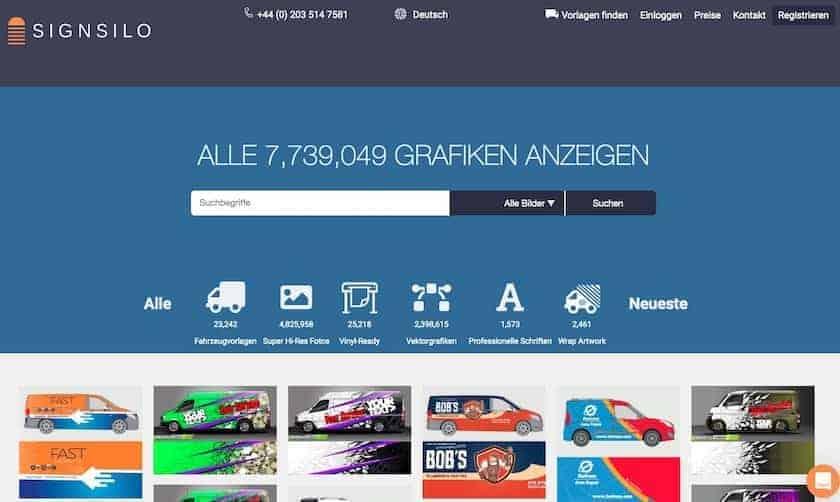 SignSilo - Fahrzeugvorlagen, Grafiken und Fotos für die Beschriftungsbranche - fotoskaufen signsilo website