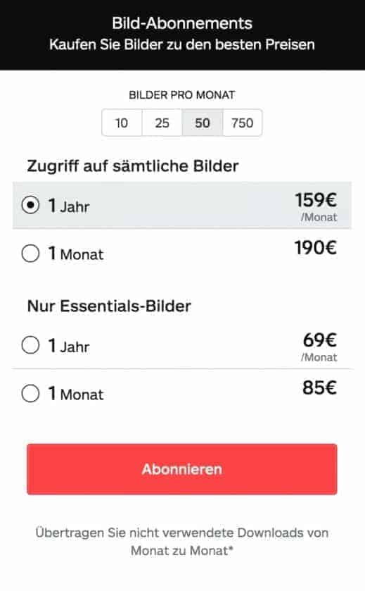 Preise Bild-Abonnements iStock