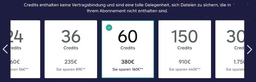 Preise Credit-Pakete iStock