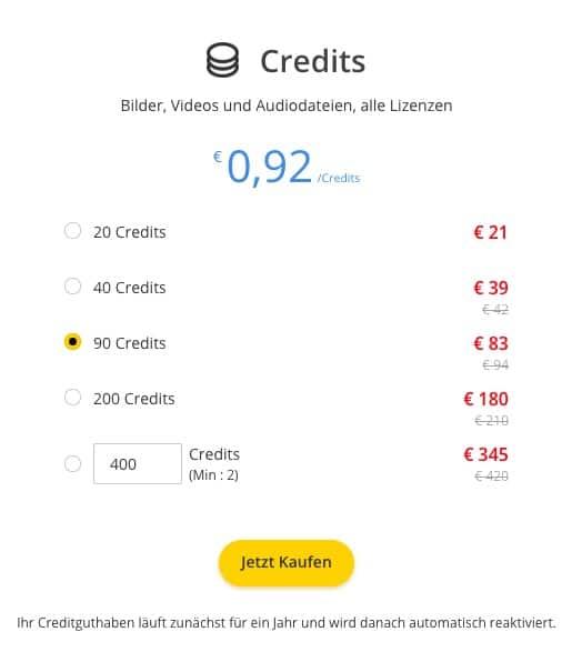 Creditpreise von 123RF