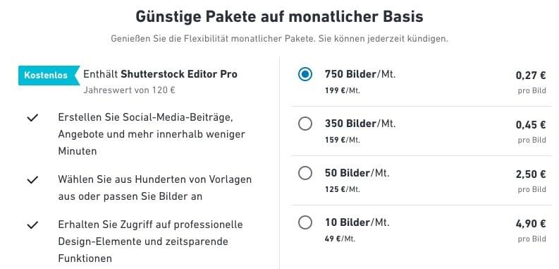 Preise Monatspaket von Shutterstock