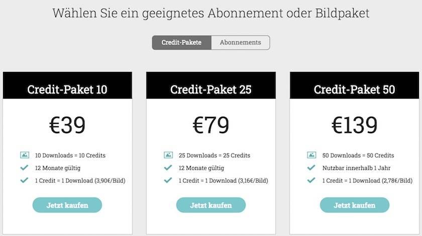 Preise Credit-Pakete von adpic