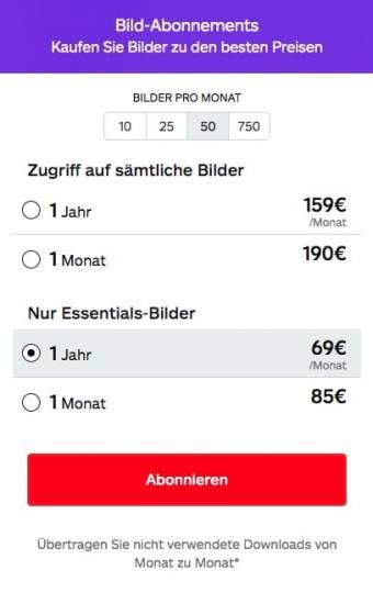 Preise Abonnements von iStock