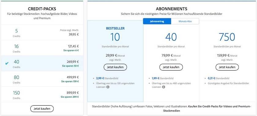 Preise von Adobe Stock