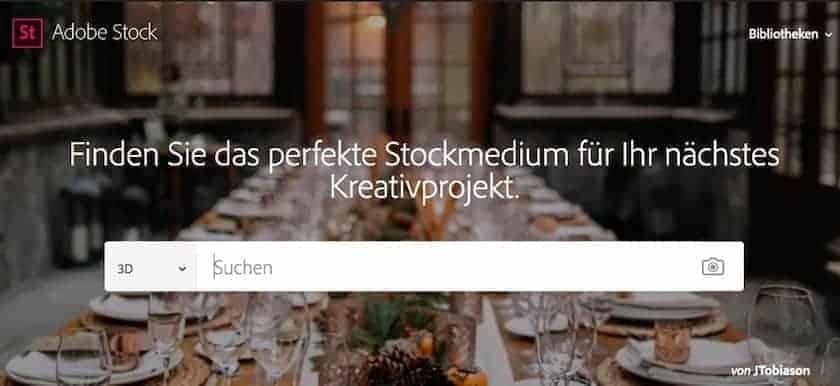 Webseite von Adobe Stock