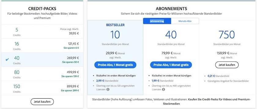 Preise Adobe Stock