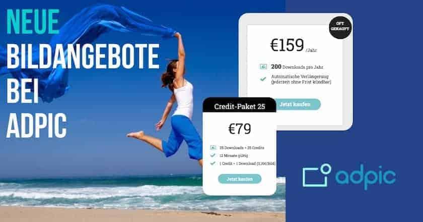 Neue Credit-Pakete & Bild-Abos bei adpic - günstige Bilder für jeden Bedarf! - fotoskaufen layout adpic neue angebote