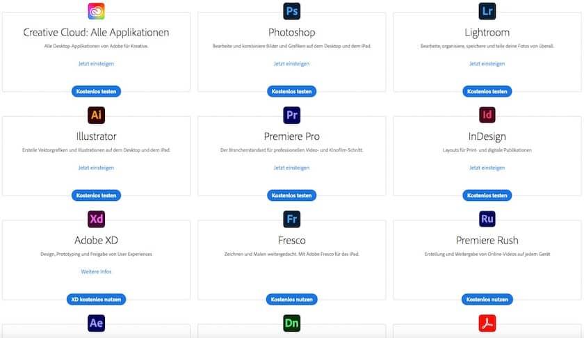 Adobe Creative Cloud Alle Kostenlosen Probe-Abos